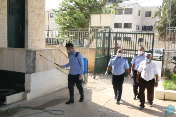 The police disinfect schools in the city of Jenin (website of the PA police, September 7, 2020).