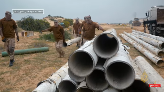Izz al-Din Qassam Brigades operatives use water and irrigation pipes from former Israeli communities in Gaza to construct rockets (al-Jazeera TV, ep 13, 2020).