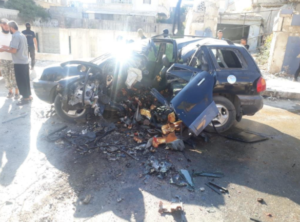 The vehicle of the commander who was targeted and killed (QalaatM@QalaatM Twitter account, September 14, 2020)