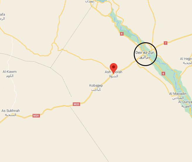 The Al-Shoula area where ISIS's attack took place (Left: Google Maps; Right: Bing Satellite)