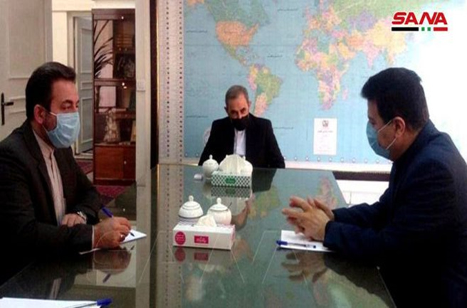 The meeting of the senior adviser to the supreme leader with the Syrian ambassador in Tehran (SANA, September 12, 2020).