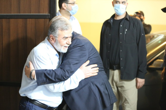 Ziyad al-Nakhalah and Isma'il Haniyeh meet in Beirut (Twitter account of U-news, which apparently operates from Lebanon and focuses on covering the Iranian-led so-called