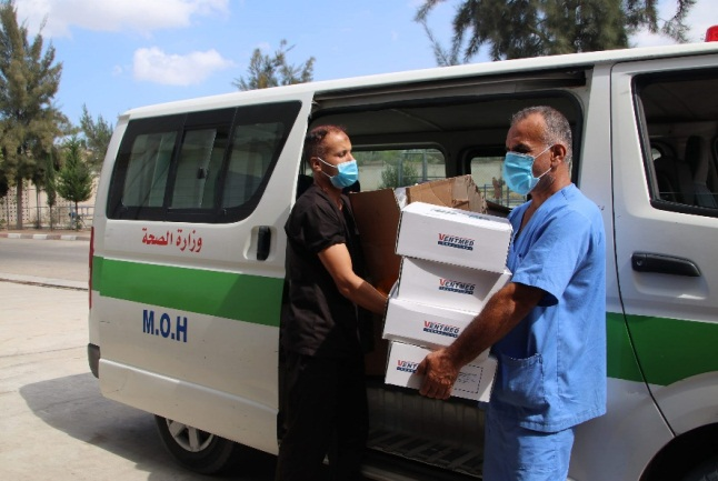 The ventilators received by the European Hospital in Khan Yunis (website of the ministry of health in Gaza, September 24, 2020).