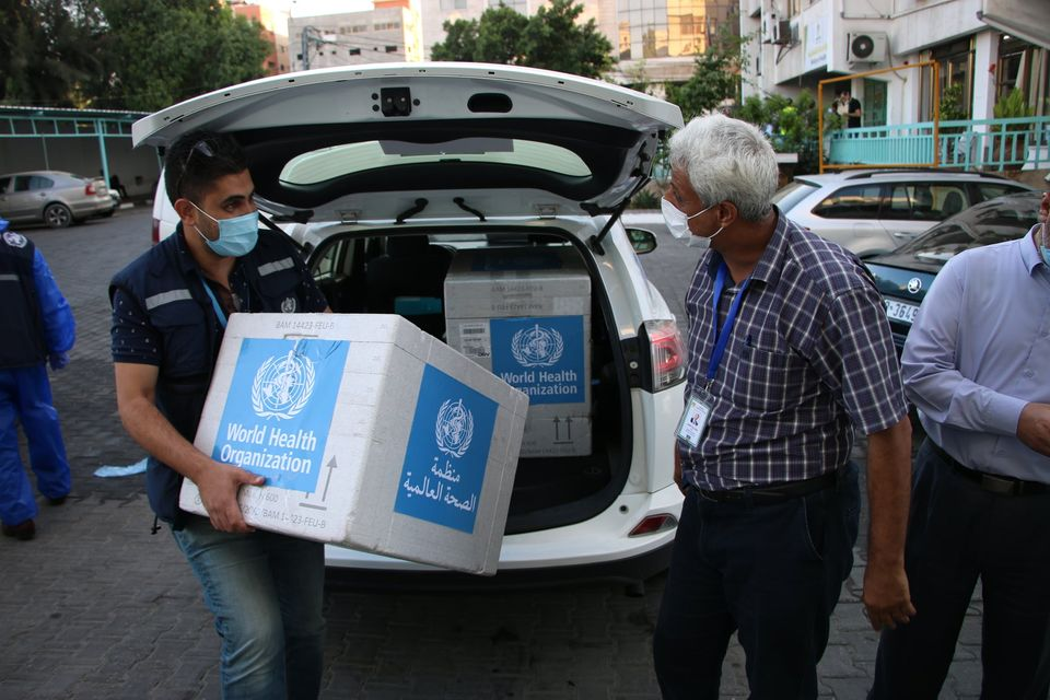 Testing kits delivered by the W.H.O. (Facebook page of W.H.O. office in the Palestinian territories, September 25, 2020).