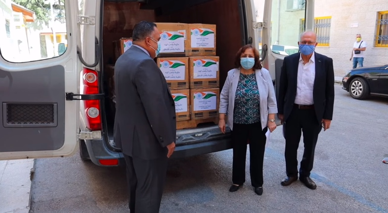 Mai al-Kayla, PA minister of health receives medical equipment from the Indian ambassador to the PA (Facebook page of the ministry of health in Ramallah, September 27, 2020).