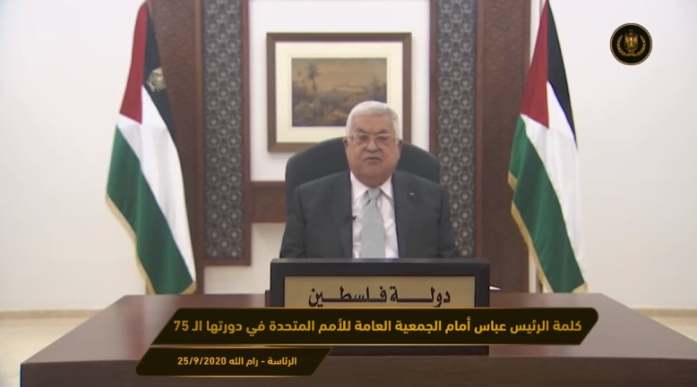 Mahmoud Abbas gives an online speech to the UN General Assembly (Mahmoud Abbas' Facebook page, September 25, 2020).