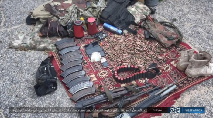 Nigerian army weapons and equipment seized in ISIS's attack on the checkpoint (Telegram, September 26, 2020)