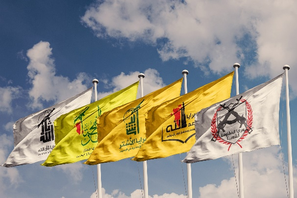 The flags of the five main Iranian-affiliated terrorist organizations of the Islamic Resistance in Bahrain (al-Abdal website, January 3, 2020)