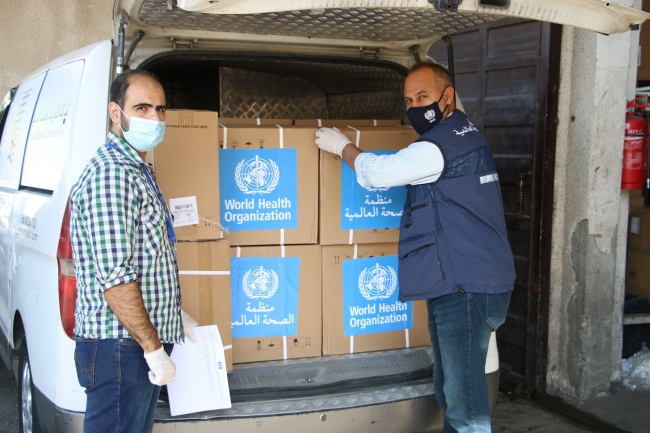 A consignment of swabs delivered to the Gaza Strip.