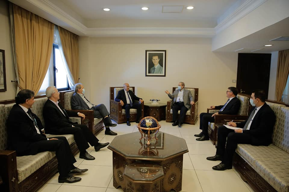 Jibril Rajoub and the Fatah delegation meet with the Syrian deputy foreign minister.