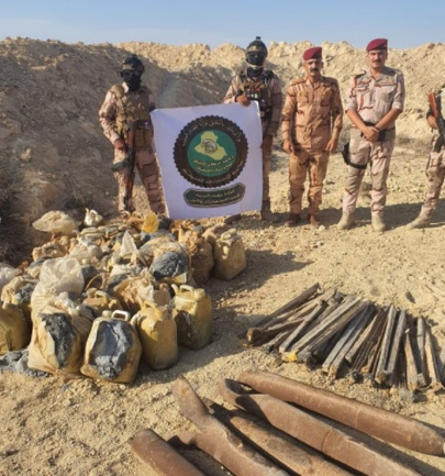 ISIS IEDs, tripwire and rockets found by the Iraqi army (Facebook page of the Iraqi Ministry of Defense, October 4, 2020)