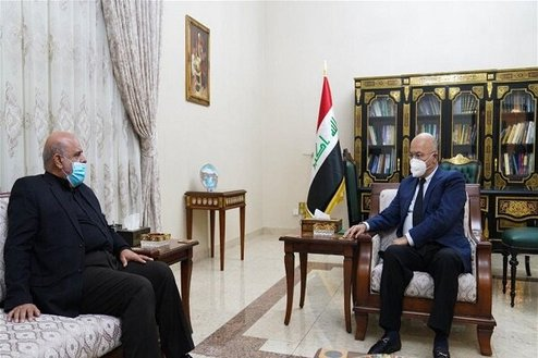 The meeting of the Iraqi president with the Iranian ambassador to Baghdad (Mehr, October 4, 2020).
