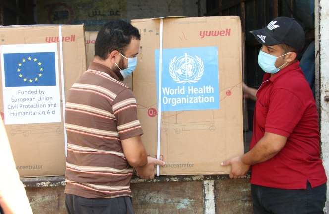 Oxygen concentrators delivered to the Gaza Strip (Facebook page of the W.H.O. office in the territories, October 15, 2020).