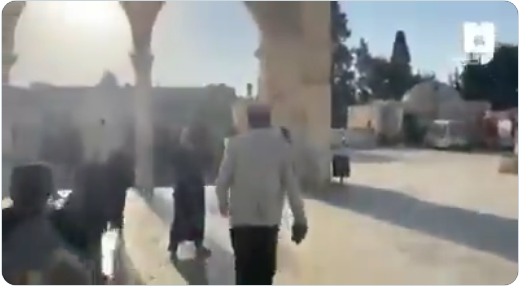 From a video documenting the expulsion of UAE worshippers from the Temple Mount (Palinfo, October 18, 2020)