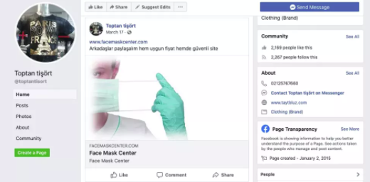 Screenshot of one of Murat Cakar's Facebook sales pages (Facebook, March 20, 2020)
