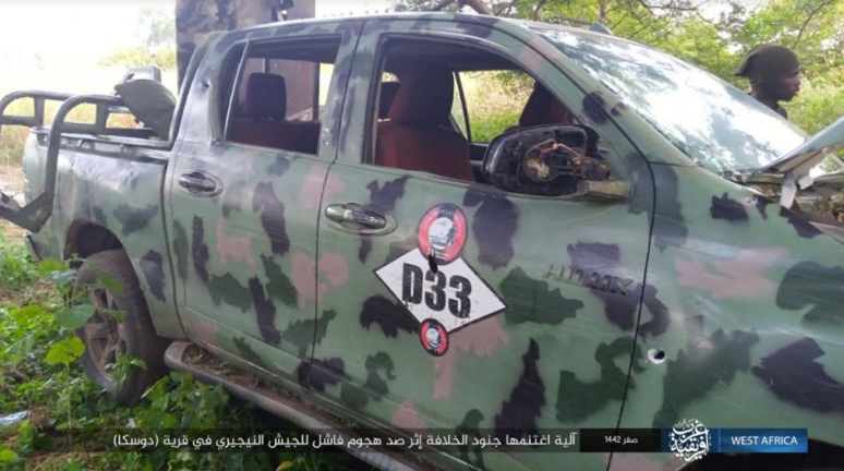 Vehicle seized by ISIS while repelling the Nigerian army attack (Telegram, October 17, 2020)