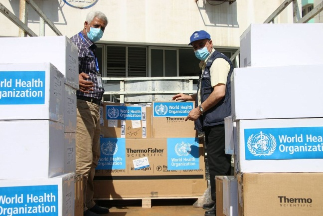 Medical equipment delivered to the Gaza Strip (Facebook page of the W.H.O. in the territories, October 25, 2020).