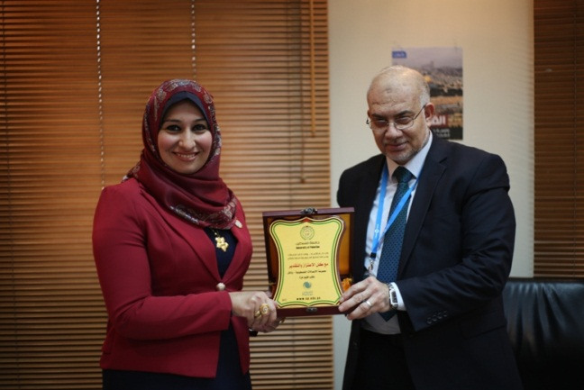 al-Saraj during a visit of students from the business administration faculty at Palestine University to the Paltel offices (Palestine University website, December 20, 2017).