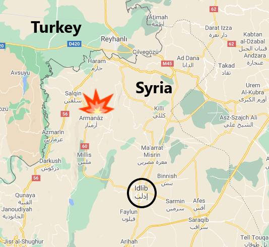 Kafr Takharim, near the border with Turkey, where the training camp was attacked (Google Maps)