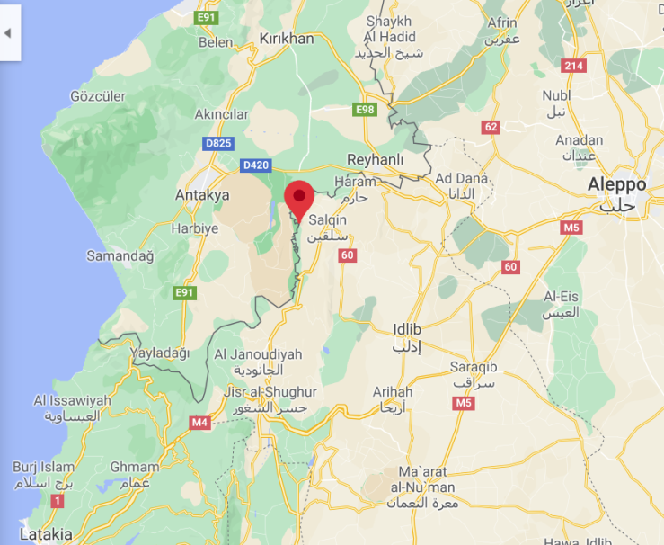 The site of the airstrike, near the border with Turkey (Google Maps)