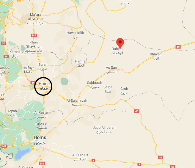 Site of the fighting between the ISIS operatives and the forces supporting the Syrian army (Google Maps)