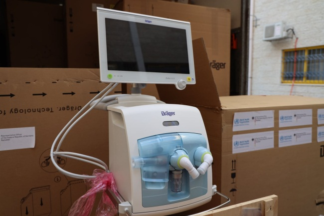 Ventilators donated by Germany (Facebook page of the ministry of health in Ramallah, October 27, 2020).