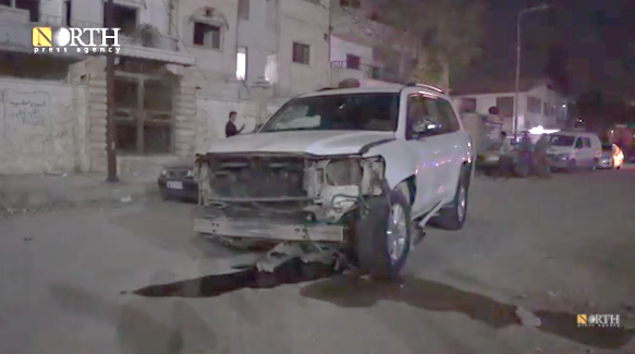 The car of the commander of the Deir ez-Zor military council, which was hit by the IED (North Press Agency, a YouTube channel operating from Germany, reporting on Syria, October 31, 2020)
