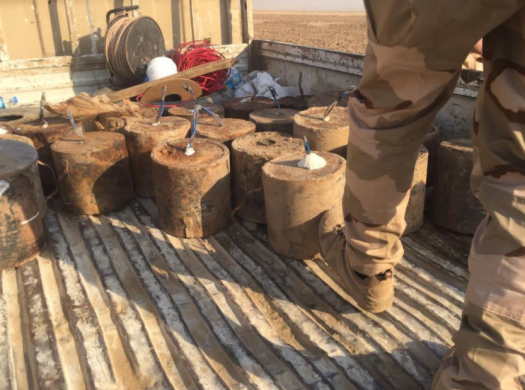 Mortar shells and other ammunition located by the Iraqi army west of Mosul (Facebook page of the Iraqi Defense Ministry, October 31, 2020)
