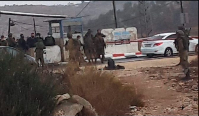 The scene of the shooting attack and the terrorist's vehicle (Qudspress website, November 4, 2020).