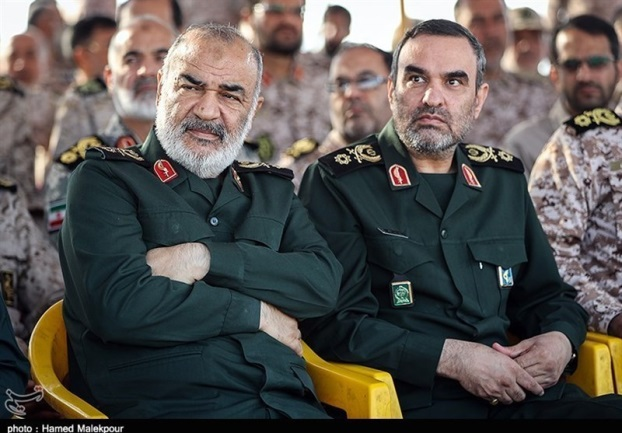 The commander of the IRGC (left) alongside Hassan Mohaqeq, the Deputy Head of the Intelligence Organization of the IRGC (Tasnim, May 18, 2019)