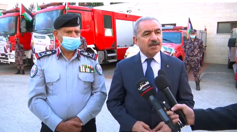 Muhammad Shtayyeh at the transfer of the fire engines (Wafa YouTube channel, November 3, 2020).