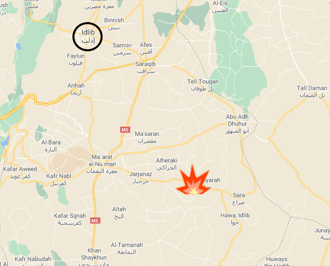 HTS positions which were attacked (Google Maps)