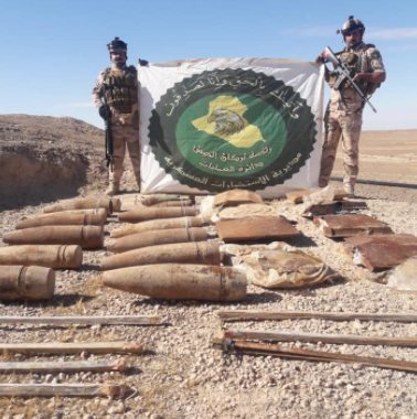 ISIS's IEDs, tripwires and shells located in the Ramadi area.
