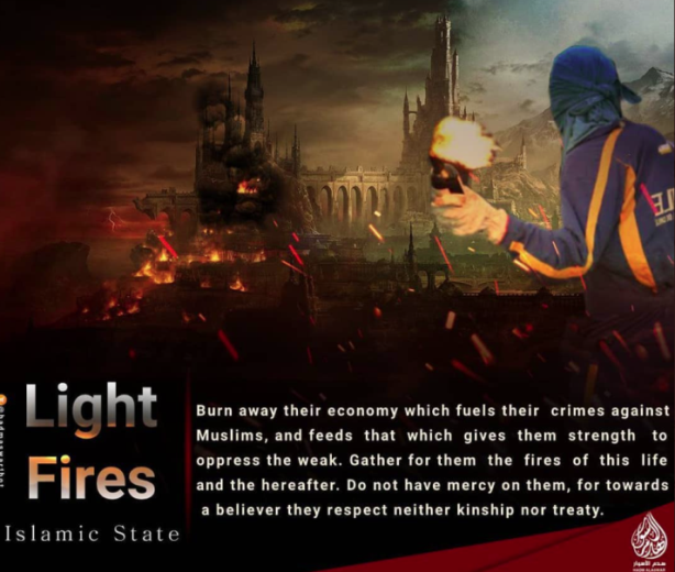 Poster showing an ISIS supporter about to throw a Molotov cocktail with Europe/the West on fire in the background (Instagram, November 6, 2020).