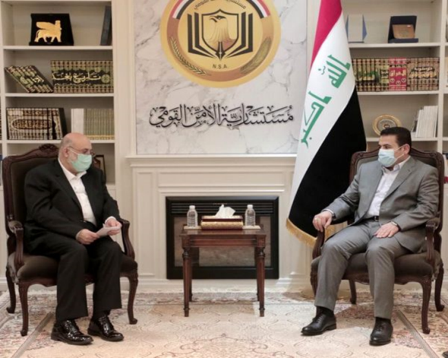 The meeting between the Iranian deputy minister of defense (left) with the Iraqi national security adviser (IRNA, November 3, 2020).
