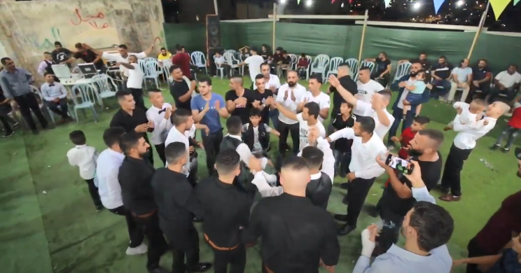 A wedding held in the Palestinian village of Barta'a al-Sharqia, close to the Israel border. No masks, no social distancing (Studio Omar on YouTube, October 7, 2020). There are five reception venues in the village where Israeli Arabs who live in Wadi 'Ara hold their weddings.