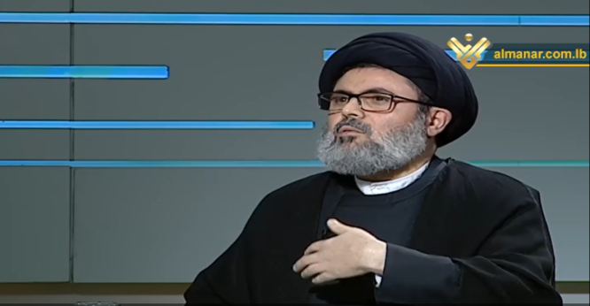 Safi al-Din during the interview in which he announced Hezbollah's program to fight COVID-19.