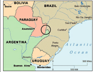 The Paraguay-Argentina-Brazil tri-border area, where Hezbollah is involved in criminal, subversive and terrorist activity