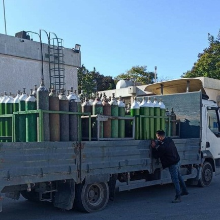 Delivery of oxygen cylinders for the European Gaza Hospital, November 21, 2020.