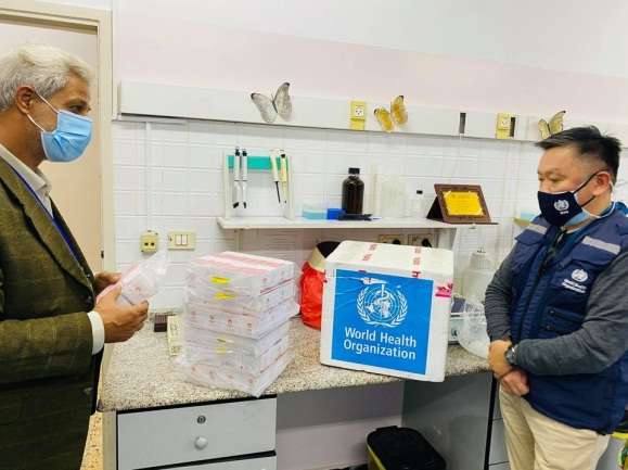 The delivery of the test kits from the WHO (Facebook page of the WHO office in the territories November 17, 2020).