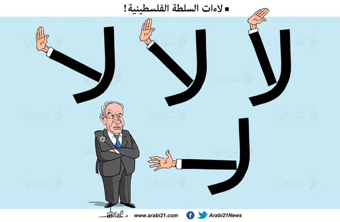 "The PA says ""no."" The Arabic word ""no"" changes to a handshake for coordination with Israel (Filastin al-A'an Twitter account, November 18, 2020)."