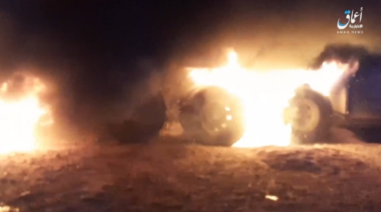 Iraqi army truck set on fire by ISIS operatives (Telegram, November 23, 2020)