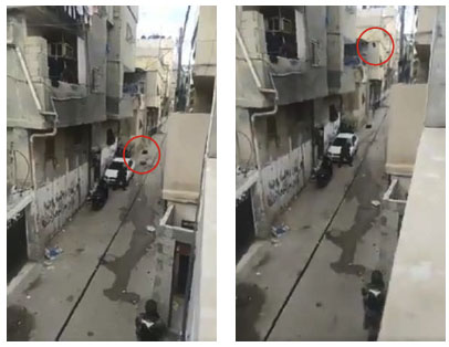 Palestinians throw concrete blocks and other heavy objects (circled in red) from roofs (adham922 Twitter account, December 7, 2020).