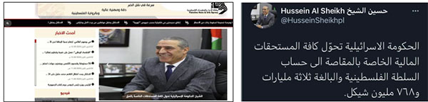 Right: Hussein al-Sheikh announces that the government of Israel transferred all the tax revenues to the PA bank account (Hussein al-Sheikh's Facebook page, December 2, 2020). Left: The Wafa website quotes al-Sheikh's announcement (Wafa, December 2, 2020).