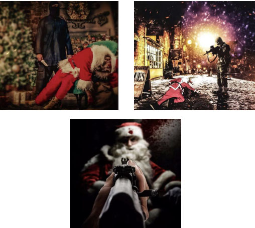 Right: Poster showing an ISIS operative shooting Santa Claus to death (Vera Mironov's Twitter account, December 23, 2020). Left: Poster showing an ISIS operative stabbing Santa Claus to death (Vera Mironov's Twitter account, December 23, 2020). Bottom: Poster showing an ISIS operative shooting Santa Claus in the head (Vera Mironov's Twitter account, December 23, 2020).