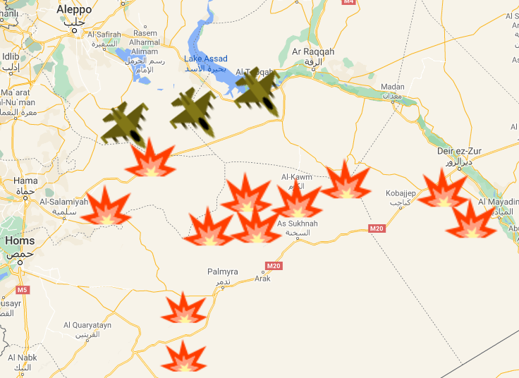 Sites of incidents in the past week in the desert region in eastern Syria. The planes represent Russian airstrikes (Google Maps)