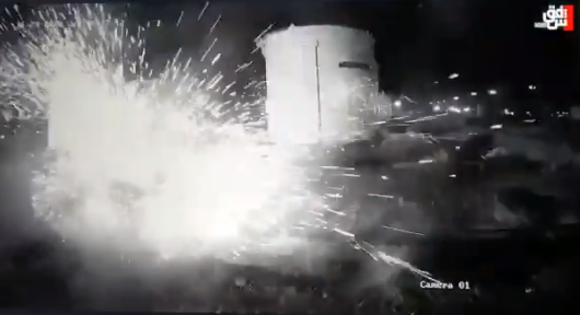 The moment the container compound was hit