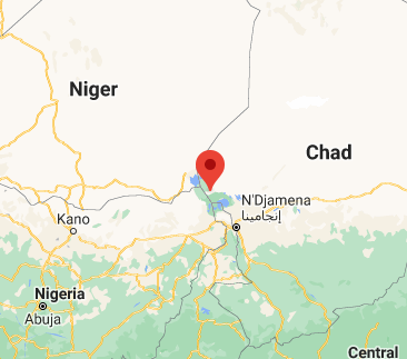 The place where the ship sank in Ngouboua, in the northern part of Lake Chad (Google Maps).