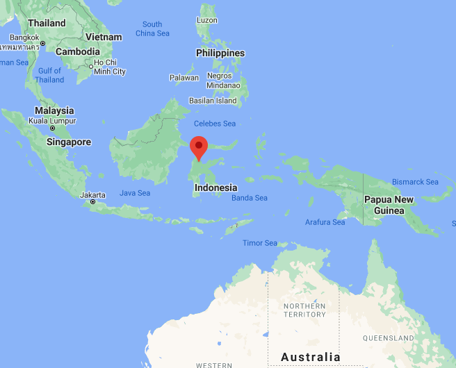 Location of the attack by ISIS operatives in Indonesia (Google Maps)