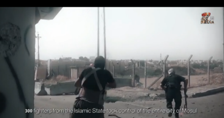Archival footage of ISIS operatives during the takeover of the city of Mosul.